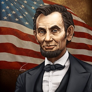 A photograph of Abraham Lincoln.