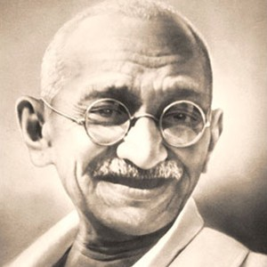 Photograph of Mahatma Gandhi.