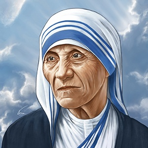 A photograph of Mother Teresa.