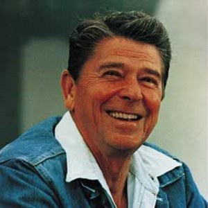 Photograph of Ronald Reagan.
