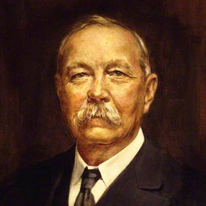 A photograph of Arthur Conan Doyle.
