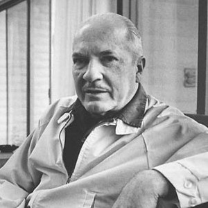 A photograph of Robert Heinlein.