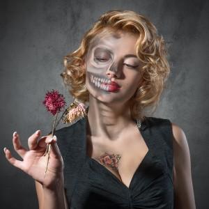 Death makeup on an actress.
