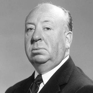 A photograph of Alfred Hitchcock.