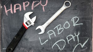 Happy Labor Day written on a chalkboard.
