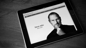 Photograph of Steve Jobs displayed on an Apple iPad.