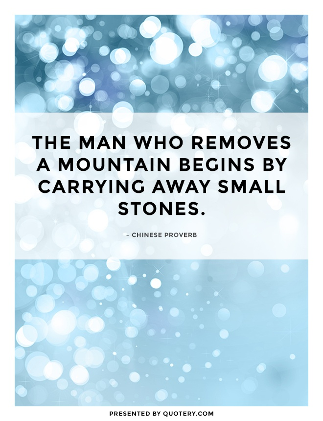 """""""The man who removes a mountain begins by carrying away small stones."""" — Chinese Proverb"""