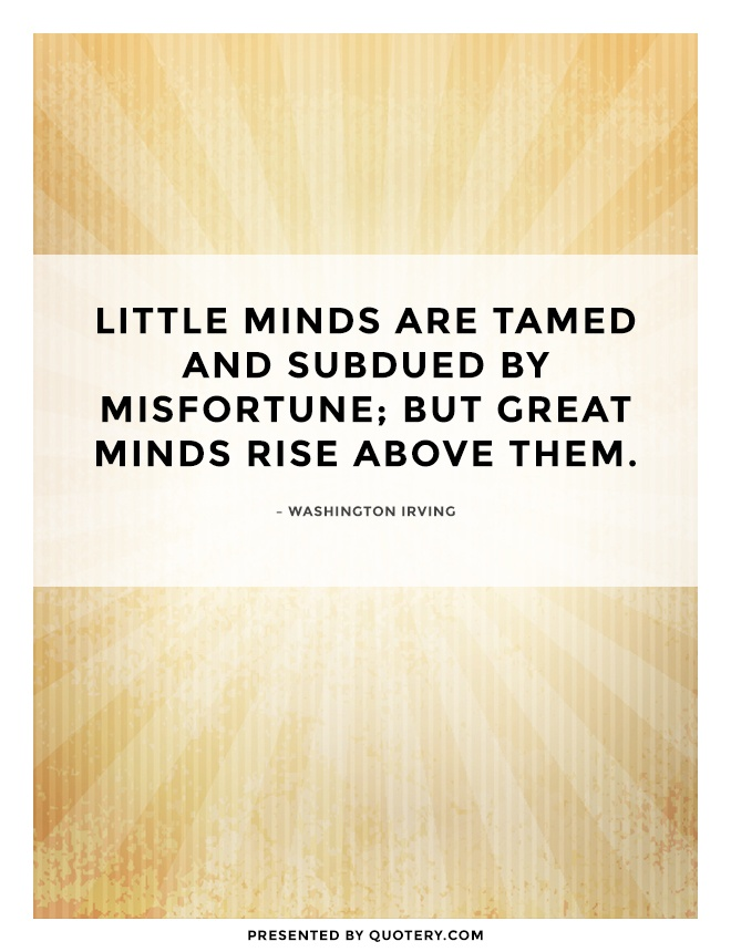 """""""Little minds are tamed and subdued by misfortune; but great minds rise above them."""" — Washington Irving"""