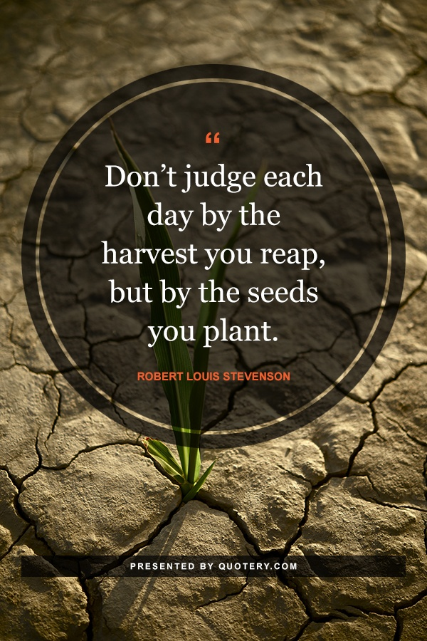 """""""Don't judge each day by the harvest you reap, but by the seeds you plant."""" — Robert Louis Stevenson"""