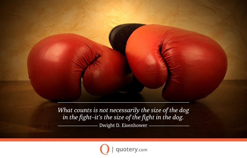 """What counts is not necessarily the size of the dog in the fight–it's the size of the fight in the dog."" — Dwight D. Eisenhower"