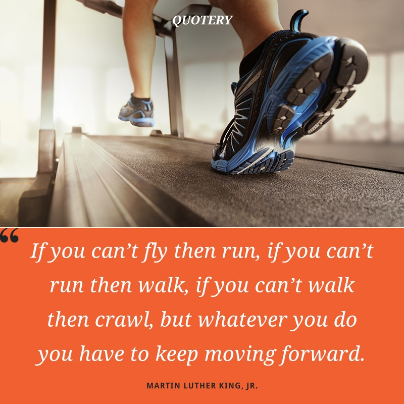 """If you can't fly then run, if you can't run then walk, if you can't walk then crawl, but whatever you do you have to keep moving forward."" — Martin Luther King (Jr.)"