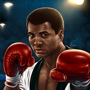 A photograph of Muhammad Ali.