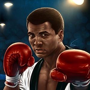 A photograph of Muhammad Ali.