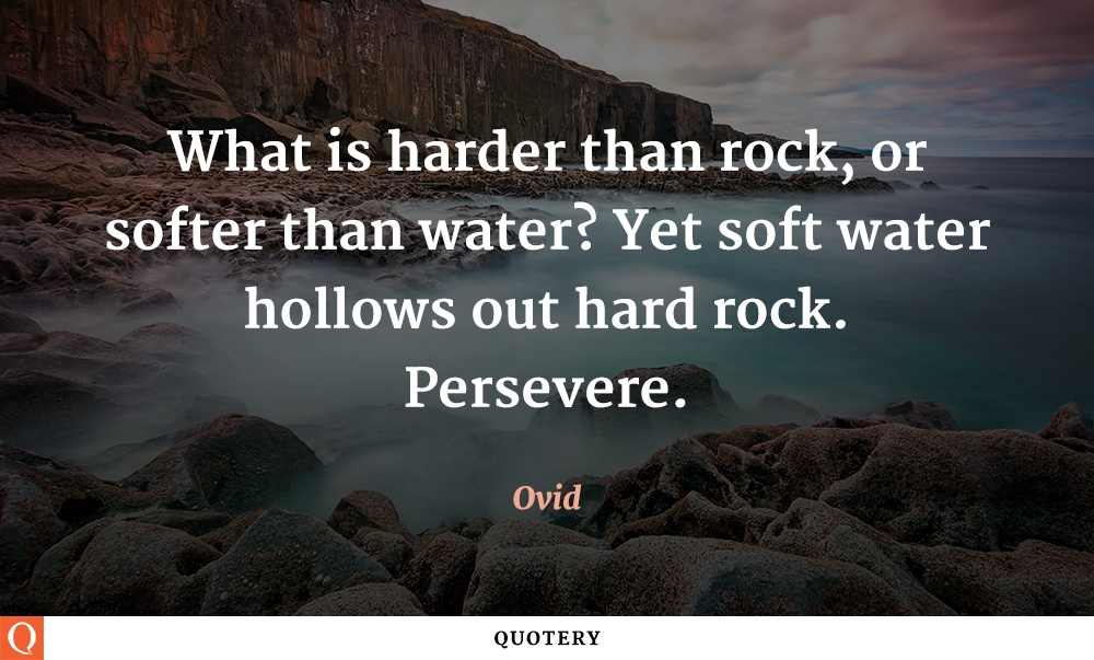 """What is harder than rock, or softer than water? Yet soft water hollows out hard rock. Persevere."" — Ovid"