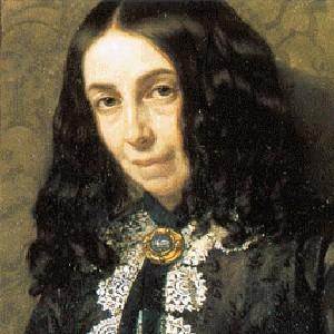 A photograph of Elizabeth Barrett Browning.
