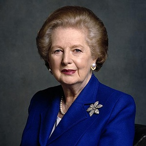 Photograph of Margaret Thatcher.