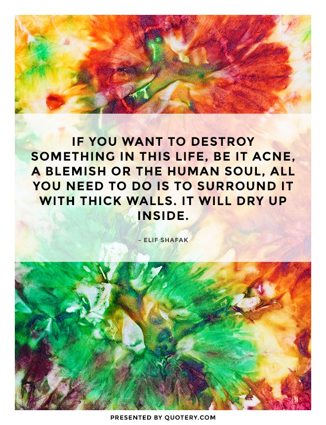 """""""If you want to destroy something in this life, be it acne, a blemish or the human soul, all you need to do is to surround it with thick walls. It will dry up inside."""" — Elif Shafak"""