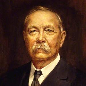 A photograph of Arthur Conan Doyle.