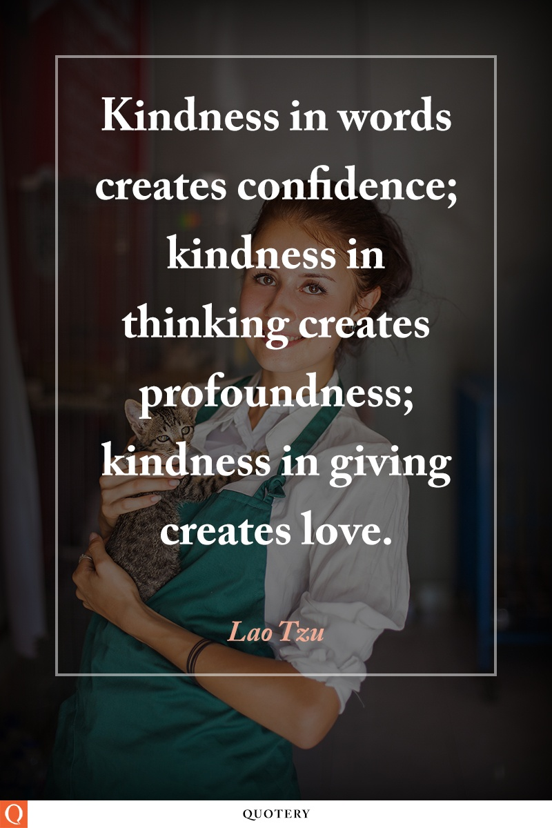 """Kindness in words creates confidence; kindness in thinking creates profoundness; kindness in giving creates love."" — Lao Tzu"