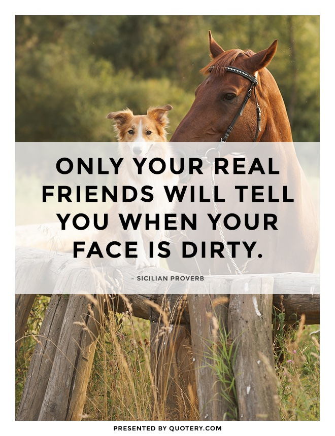 """""""Only your real friends will tell you when your face is dirty."""" — Sicilian Proverb"""