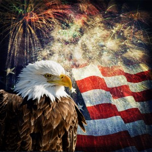 Independence Day with fireworks, a Bald Eagle, and an American flag.
