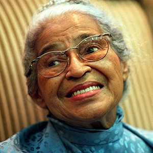 A photograph of Rosa Parks.