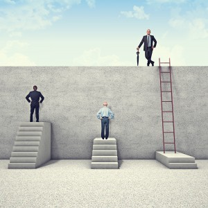 Success of business people climbing ladders.