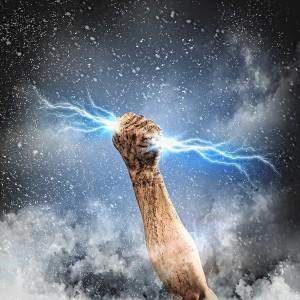 Power of a human hand grabbing lightning.