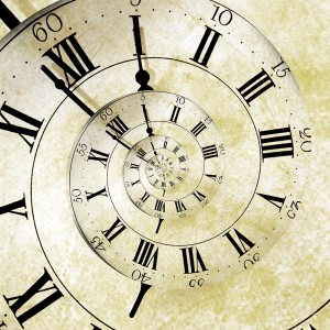 Time shown on an old vintage, spiraling clock face.
