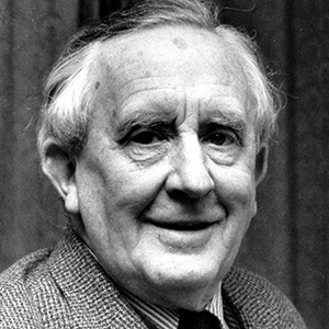 A photograph of J. R. R. Tolkien.