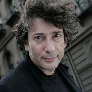 A photograph of Neil Gaiman.