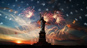 U.S. flag, fireworks, and Statue of Liberty.
