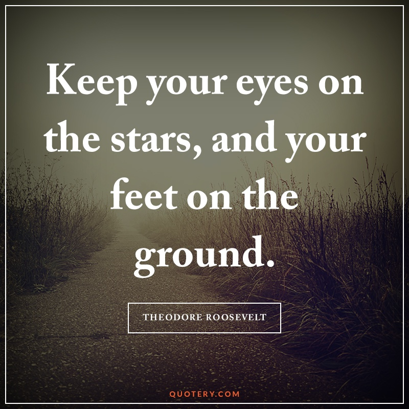 """""""Keep your eyes on the stars, and your feet on the ground."""" — Theodore Roosevelt"""